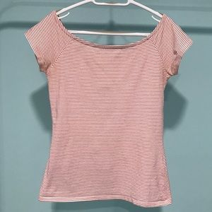 Simon's TWIK Red Striped Off the Shoulder Tee M